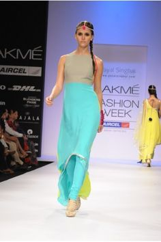 Payal Singhal Indian Wear Collection : FRESH BLUE GREY & NEON KURTA WITH LEGGINGS