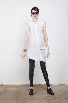 Kay Li Asymmetric White Shirt Dress | GNOSSEM | Top Independent Designers | Free Shipping Worldwide