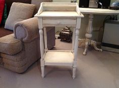 Little hall table painted by Margaret Whitcher with old white chalk paint and finished with clear and dark wax.