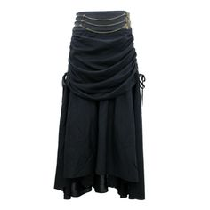 EW-109 - Black Gathered Steampunk Skirt with Leather Belt - MADE TO ORDER