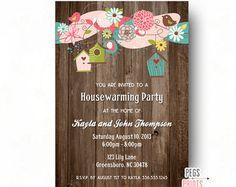 Housewarming Invitations  Printable Brown Wood Rustic House