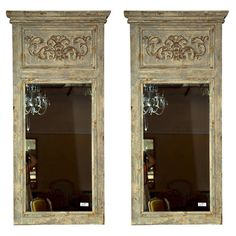 Pair of Swedish Gustavian Style Trumeau Mirrors | From a unique collection of antique and modern wall mirrors at https://www.1stdibs.com/furniture/mirrors/wall-mirrors/