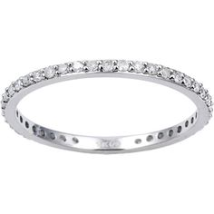 Beverly Hills Charm Classic 10K White Gold 1/3ct TDW Diamond Eternity... (3,875 MXN) ❤ liked on Polyvore featuring jewelry, rings, stackable diamond rings, diamond wedding rings, round diamond ring, stackable rings and wedding rings