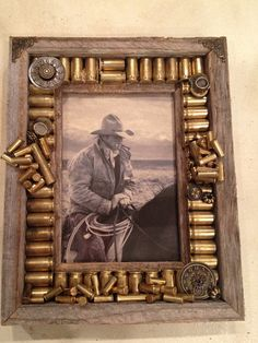 DIY Picture Frame Ideas – Thinking Outside The Box - The Saw Guy - Bilderrahmen Picture Frame Crafts, Rustic Picture Frames, Barn Wood Frames, Picture On Wood, Photo Frames Diy, Photo Frame Ideas, Frames Ideas, Bullet Casing Crafts, Bullet Crafts