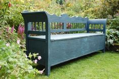 Antique Pine Country Box Settle Bench With Storage   297884   Sellingantiques.co.uk