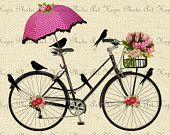 Items similar to Spring Day Bicycle Ride Digital Collage Sheet Image Transfer Burlap Feed Sacks Canvas Pillows Towels greeting cards umbrella UPrint 300jpg on Etsy
