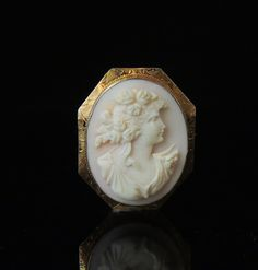 Large Art Nouveau PINK Angel Skin Coral CAMEO Brooch with Fancy Engraved 10k Setting