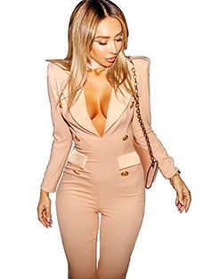 S Curve Womens Choker Neck Long Sleeves Tuxedos Jumpsuit Sand Medium >>> Find out more about the great product at the image link.