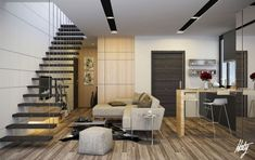 Contemporary Home Design, Remarkable Neutral Modern Decor Wooden Stairs: Luscious Living Room for Modern Home Living