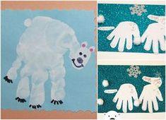 Handabdruck zu Weihnachten Kinder Schneebären #bastelideen #weihnachtskarten #christmascards