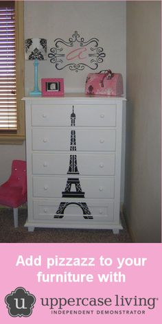 Use an #UppercaseLiving decorative design to create one-of-a-kind #furniture! #EiffelTower #decor #wallsthatspeak http://wallsthatspeak.uppercaseliving.net/Category.m?CategoryId=351&CatalogId=&DesignId=&ItemId=&CurrentPage=2