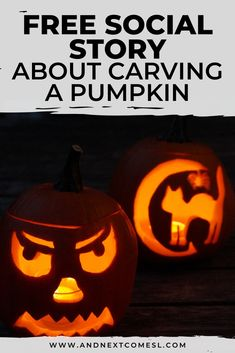 Looking for free social stories? Then you'll love this free printable Halloween social story about how to carve a pumpkin that features full color photos. It's great for preschoolers and/or kids with autism and can be used at home or for school. Halloween Activities, Autumn Activities, Activities For Kids, Autistic Children, Children With Autism, A Pumpkin, Pumpkin Carving, Social Stories Autism, Autism Resources