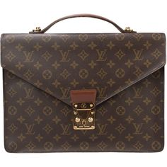 e26c9444d Pre-Owned Vintage Louis Vuitton Monogram Briefcase ($450) ❤ liked on  Polyvore featuring bags, briefcases and brown