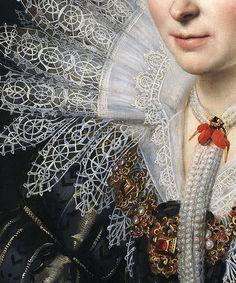 Detail Portrait of a Lady of the Van Beijeren van Schagen Family by Michiel Janszoon van Mierevelt 1620 Historical Costume, Historical Clothing, European Clothing, Fashion History, Fashion Art, Art Ancien, Art Graphique, Detail Art, Fashion Details
