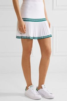 L'Etoile Sport - Medea Two-tone Pleated Stretch-knit Tennis Skirt - White - x small