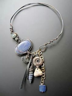 blue gypsy choker by Staci Louise Originals Beads Jewelry, Wire Wrapped Jewelry, Metal Jewelry, Boho Jewelry, Jewelry Art, Jewelry Accessories, Jewelry Design, Artisan Jewelry, Handcrafted Jewelry