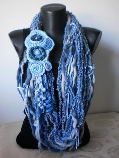 Original Scarf in blue with Freeform Pin