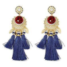 Rebecca Minkoff Tassel And Pom Drama Chandelier Earrings (4.550 RUB) ❤ liked on Polyvore featuring jewelry, earrings, natural, pom pom earrings, tassel earrings, rebecca minkoff earrings, tassle earrings and tassel jewelry