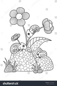 Outlined Doodle Anti Stress Coloring Book Page Chameleons On Stones And Flowers For Adults