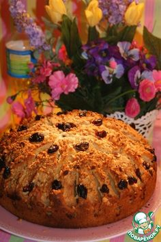 Воздушный пирог с яблоками, клюквой и орехами - кулинарный рецепт