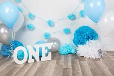 Blue Paper Flowers For 1st Birthday Party White Wall Backdrop Photography