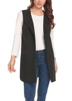 f34e42c1597582 Women s Casual Sleeveless Solid Long Trench Coat Open Front Blazer Vest  with Pockets - Black - C7187IMMISX