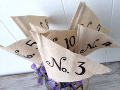Table numbers Wedding shabby chic rustic fabric by OldNewAgainNOW