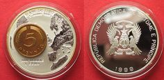 1999 St. Thomas & Prinzeninsel ST. THOMAS & PRINCE IS. 2000 Dobras - 1 Euro 1999 silver GERMAN 5 Pfg. # 94163 Proof
