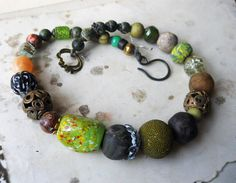 Beaded Necklace  Fall Green Choker  African by shipwreckdandy, $58.00