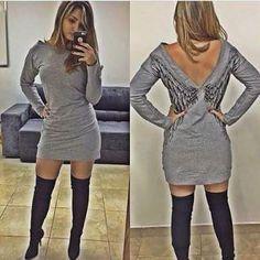 Look do dia  #vestido #moletom #asas #bota #lindo #quentinho #cinza #preto #branco #divino #diva #look #lookdodia #vestidodomomento #tendendia #moda #glamour #panicat #vemcompra #demais #sexi #friozinho #ficadica #modaoutono #modainverno #outono #inverno