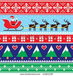 Christmas jumper or sweater seamless pattern with Santa and reindeer by RedKoala #Xmas #cross-stitch #cute #decoration #wallpaper