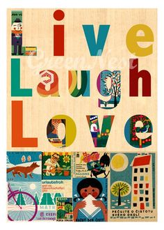 Live Laugh Love - vintage 70s safety matches collage poster print on wooden background 14$