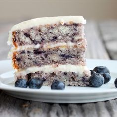 Moist Blueberry Cake with Light Lemon Icing....not a cake eater, but id change my ways for this.