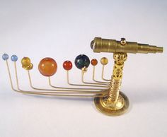 Miniature Medieval Movable Orrery and Telescope Ooak Dollhouse Mini You Can Move The Planets