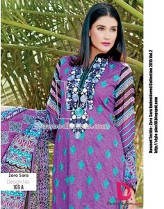Design No. 169-A From Zara Sara Embroidered Lawn 2015 Vol.2 By Dawood Textile