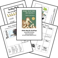 Lapbook and Bingo printables to go with Make Way for Ducklings. From 16 Spring Books and Free Resources at Bed Rested Teacher. Preschool Programs, Preschool Books, Book Activities, Author Studies, Unit Studies, Montessori, Make Way For Ducklings, Spring Books, Five In A Row