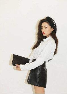 stylenanda white blouse, leather skirt, cap