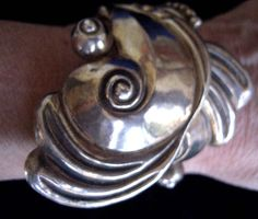 sterling silver taxco mexico cuff clamper bracelet.