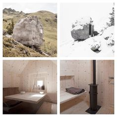 """Bureau A's stone-shaped wooden cabin in the Swiss Alps. """"As a tribute to the Alpine experience and the famed writer Swiss studio bureau A has sited their project antoine within the vast mountainous expanse of the alps. commissioned during an artist residency at the verbier 3D foundation the architecture-cum-sculpture is inhabitable and structurally functional comprising an indoor cabin with a fireplace bed table stool and window. literally hanging on the rock fall field the small wooden…"""