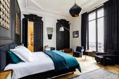 tom dixon, black doors, paris apartment, black and white,