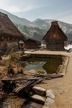 Shirakawa-go, Japan. Located in a mountainous region that was cut off from the rest of the world for a long period of time, these villages with their Gassho-style houses subsisted on the cultivation of mulberry trees and the rearing of silkworms. The large houses with their steeply pitched thatched roofs are the only examples of their kind in Japan.