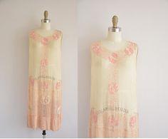 562637f66bc8 1920s beaded dress - antique pink and cream flapper dress - 20s art deco  dress