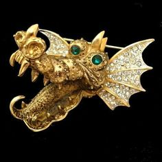 CORO Francois Rare Spectacular Dragon Pin With Rhinestone Eyes And Wings