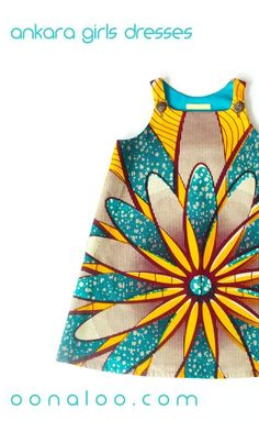 This gorgeous girls African dress is made from cotton in a vibrant yellow and teal African print fabric featuring a giant flower design design. Click through to discover more African kids fashion all in beautiful vibrant prints. African Dresses For Kids, African Babies, African Children, African Clothes, Kids Winter Fashion, Kids Fashion Boy, Winter Kids, Fashion Fall, Fall Winter