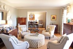 Haven and Home: Client Before and After- Living Room/Dining Room, Round Upholstered Skirted Ottoman, Chair Layout, Antique mix, Turquoise Lamp, Plates as Art, Neutral Space, Marianne Strong Interiors