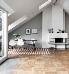 Stunning Attic Apartment In Stockholm (Debra - Apartment Decor Attic Apartment, Attic Rooms, Attic Spaces, Apartment Design, Stockholm Apartment, Attic Bathroom, Parquetry Floor, Interior Architecture, Interior Design