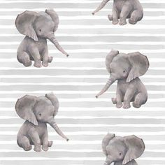 Grey Elephant on Stripes Fabric - Elephant With Stripes By Shopcabin - Gray Nursery Decor Cotton Fabric By The Metre by Spoonflower Cotton Twill Fabric, Minky Fabric, Cotton Canvas, Baby Fabric, Baby Girl Quilts, Girls Quilts, Grey Elephant, Reusable Bags, Striped Fabrics