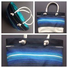 Descripción: bolso cartera Color: negro, azul   Material: algodón y cuero sintético  Medida: 27x 42cm