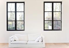 no window trim Steel Doors And Windows, Black Windows, Black Window Frames, Interior Windows, House Windows, Modern Interior Design, Living Spaces, New Homes, Furniture