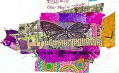 Index Card A Day No. A one-staple collage using scraps from my scrap drawer. Diy And Crafts, Arts And Crafts, Paper Crafts, Scrap Busters, First Down, Yellow Daisies, Index Cards, Art Challenge, Mixed Media Art